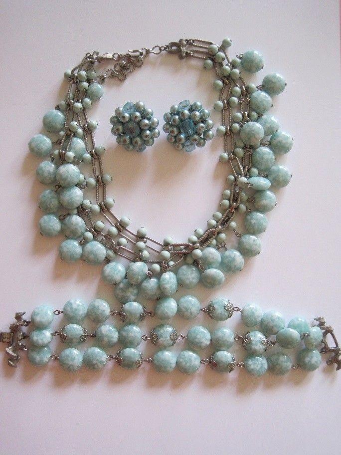 Vintage Kramer Glass Bead Necklace and Bracelet