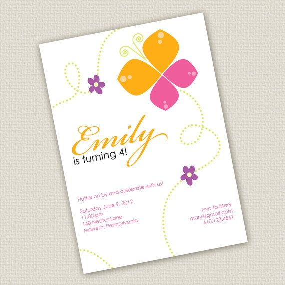 Printable Butterfly Birthday Invitation by SweetNSnappyDesigns, $15.00