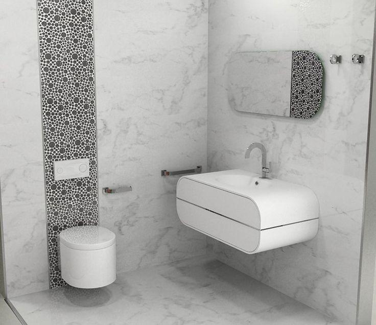 Porcelanosa marmol carrara 32x90 wall for Marmol blanco carrara