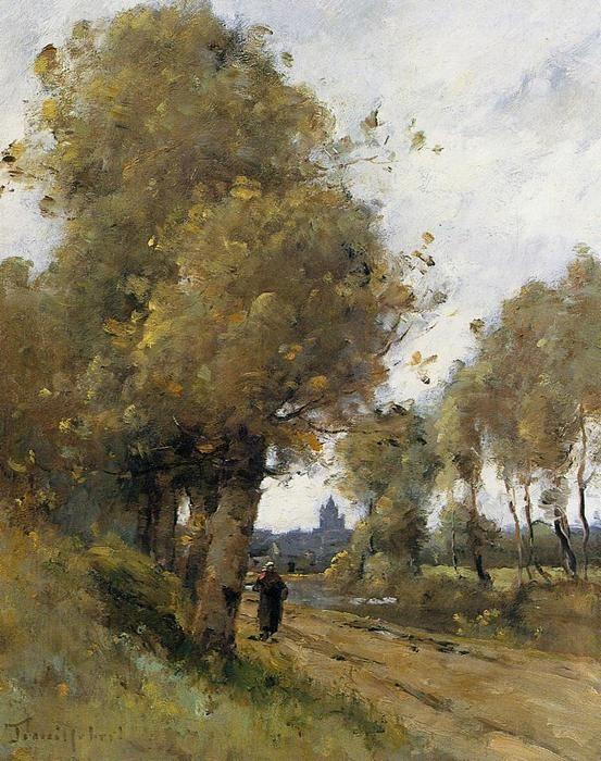 Route par le côté de la rivière Morbihan, huile sur toile de Paul Désiré Trouillebert (1829-1900, France)