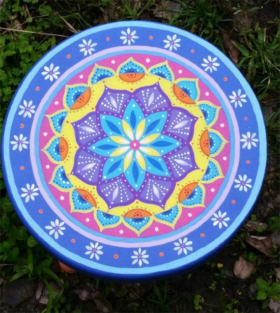 Hand painted small stool, 11 x 8.5 inches. Painted furniture, boho style. All artwork created by Janna Matkovski.