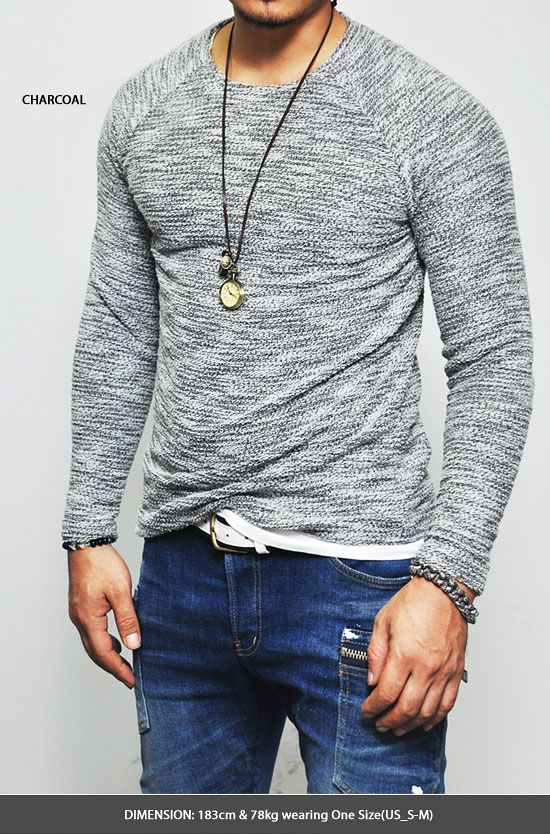 Tops :: Knits :: Easy & Comfy Slim Fit Tweed Raglan-Knit 69 - Mens Fashion Clothing For An Attractive Guy Look