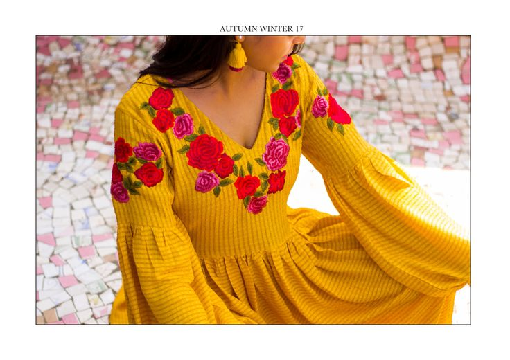 Yellow Ochre Modal Dobby Emb Dress