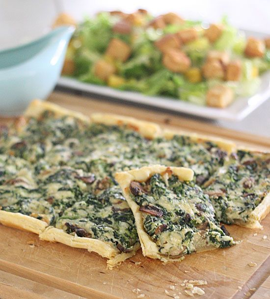 This spinach mushroom tart looks soooo fancy, but it's so easy that you're going to look like a rock star chef in no time. This super easy recipe is perfect
