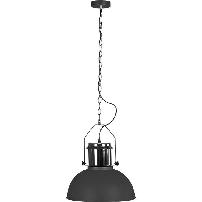 Stijlvolle en moderne grijze hanglamp met industriële look.