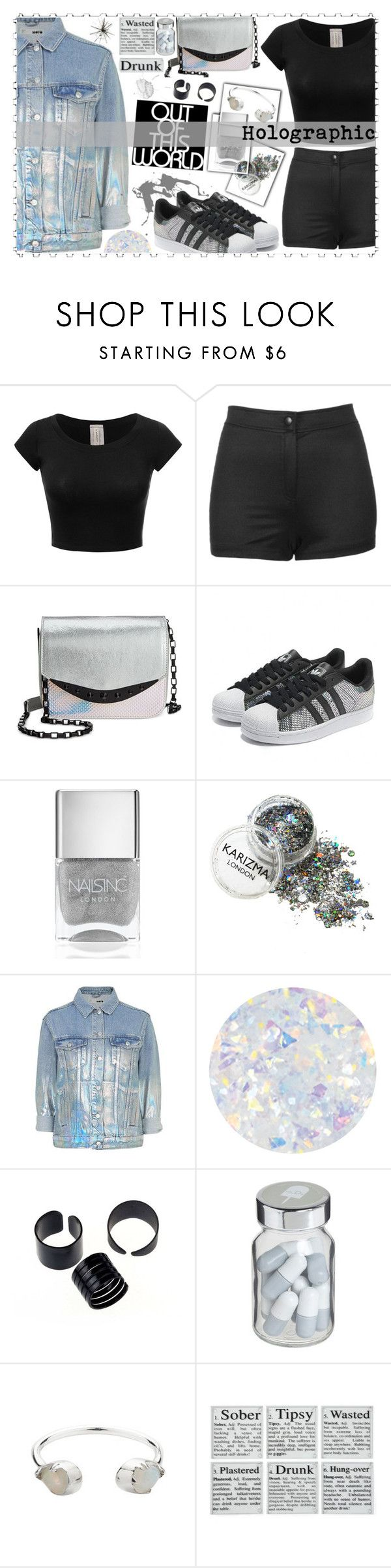 """Holographic"" by kawtar-el ❤ liked on Polyvore featuring Topshop, Circus by Sam Edelman, Nails Inc., Essie, Vita, Zimmermann and holographic"