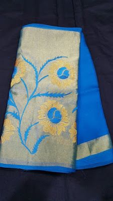 Pure Organza Sarees with kaddi Floral embroidery.  Buy Online Sarees   Elegant Fashion Wear