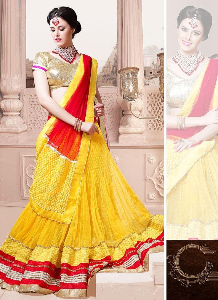 Beautifulness Yellow & Red Net Lehenga Choli