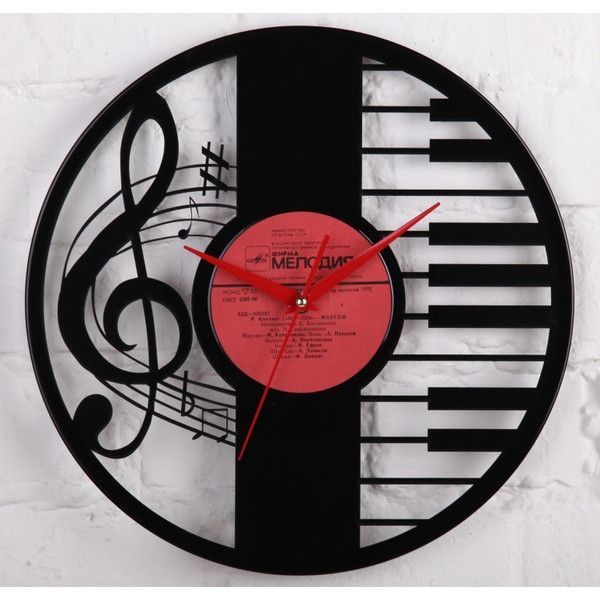 Vinyl Wall Record Clock Wedding Gift ($32) ❤ liked on Polyvore featuring home, home decor, clocks, wall mount clock, handmade home decor, handmade clocks, home wall decor and battery powered clock