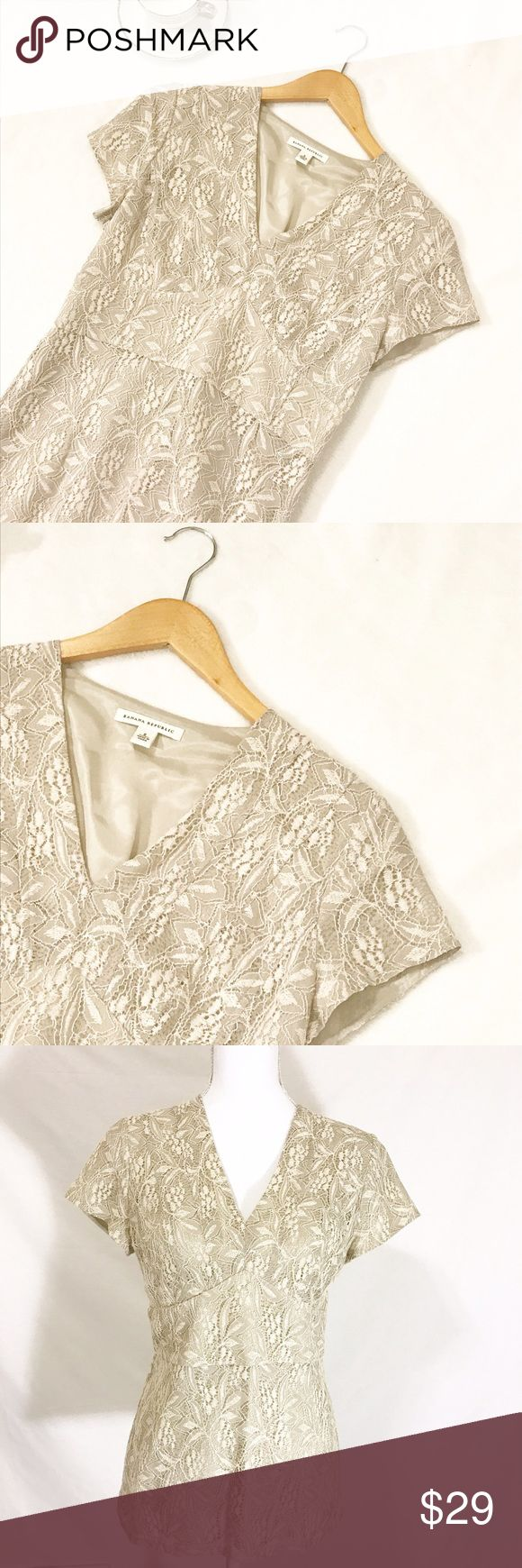 "Banana Republic Elegant Lace Beige Blouse Beige floral lace blouse with short sleeves. Material: Shell 59% Nylon, 41% Cotton. Lining 100% Acetate.   Size 6   Measurements (laid flat) Armpit to armpit 16.5"".  Waist 15"". Length 25""   Condition Excellent condition pre-owned. No flaws noted. Banana Republic Tops Blouses"