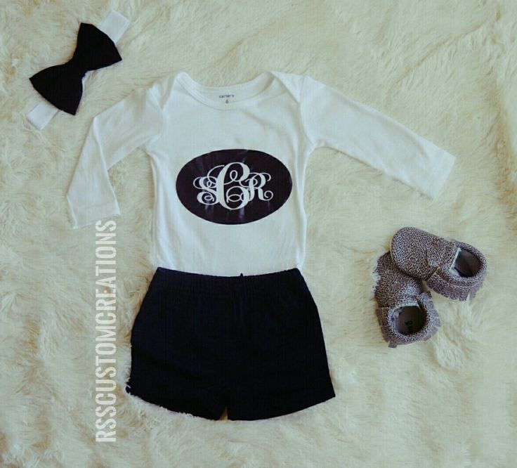 Monogrammed Baby Shirt Baby Girl Shirt Custom Made Bodysuit First Birthday Outfit Custom Made Shirt Coming Home Outfit Shirt Only (16.00 USD) by RSSCustomCreations