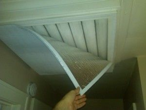 Insulated cover for whole house attic fan grate - The DIY Girl