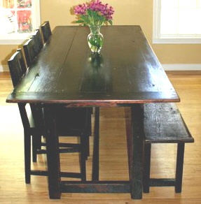 Superior Black Distressed Tavern Style Table With Bench Traditional Dining Room