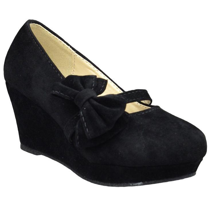 Kids Dress Shoes Platform Wedge Bow Accent Closed Toe Pumps black