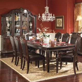 Tribeca Home Tusca Traditional Dark Brown 9-piece Extending Dining with China Cabinet and Hutch - Overstock™ Shopping - Big Discounts on Tribecca Home Dining Sets 3878.99
