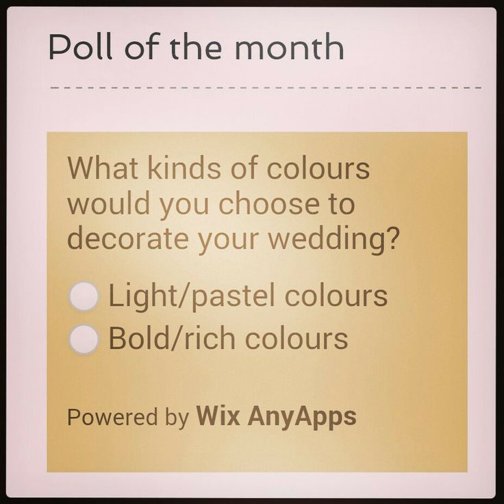 Come and participate in the poll of the month! Www.happiness-DownTheAisle.com