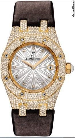 Audemars Piguet Lady's Yellow Gold ROYAL OAK Pave Diamond Case - Yellow Gold on Strap with Silve