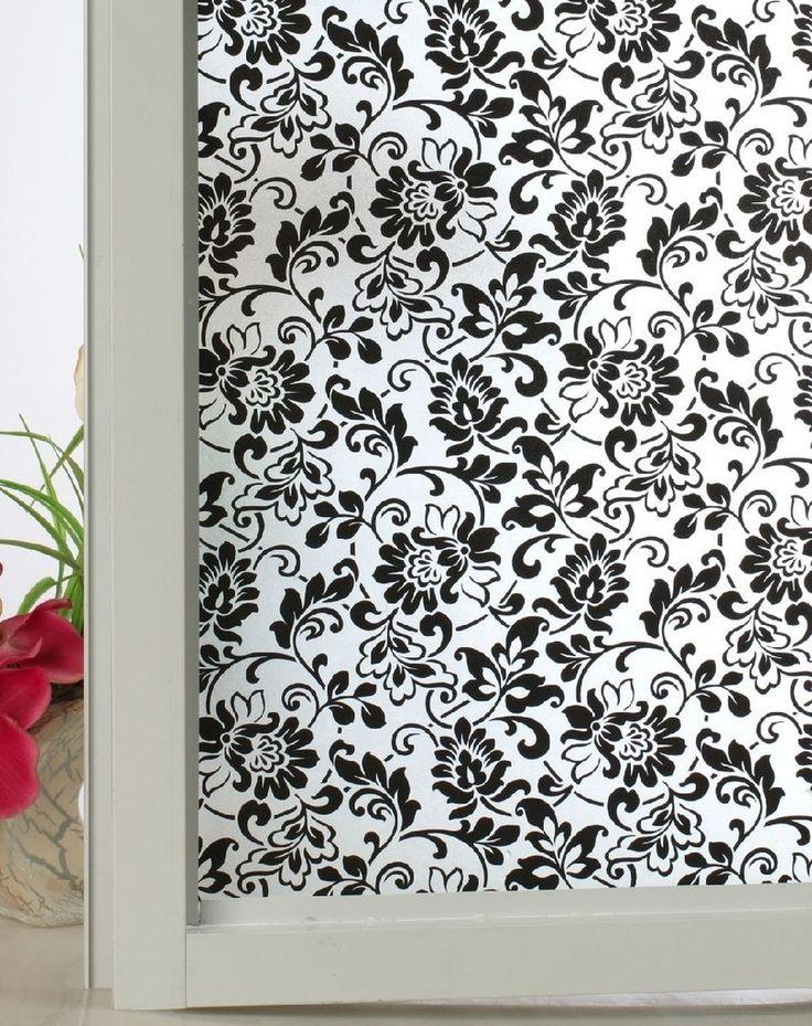24-by-72-Inch Leyden Modern Black Flora Decorative Glass Window Films: Amazon.ca: Home & Kitchen