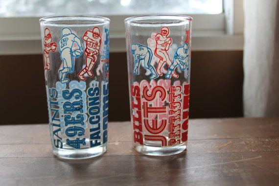 Vintage Collectable Football Glasses  NFL by campeauscollectables