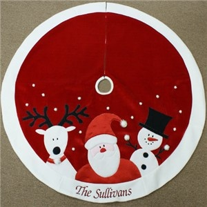 Personalized Santa Rudolph Frosty christmas tree skirt