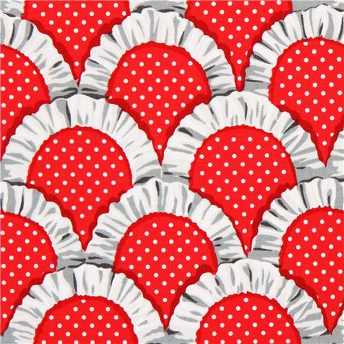 red apron ruffles fabric by Michael Miller from the USA