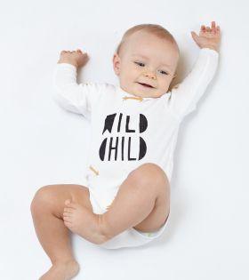 Sweet baby boy Wild Child #babybody #babygrow #onepiece #onesie #monochrome #wildchild #quotes #ubranka #dziecięce #body #dzidzia #stylowe #ekologiczne #ecofriendly #design
