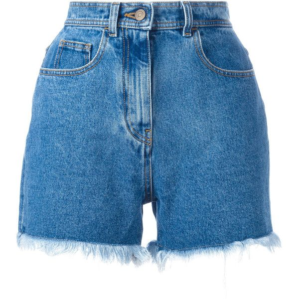 Philosophy Di Lorenzo Serafini frayed denim shorts ($234) ❤ liked on Polyvore featuring shorts, bottoms, pants, short, blue, short shorts, frayed shorts, blue denim shorts, denim shorts and jean shorts