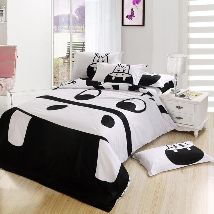 Black And White Hippo Print Kids Cartoon Bedding Comforter Bedroom Bedsheet Set King Queen Full Twin Size Bedspread Bed Sheet Duvet Cover Online with $105.05on Johnhe's Store | DHgate.com