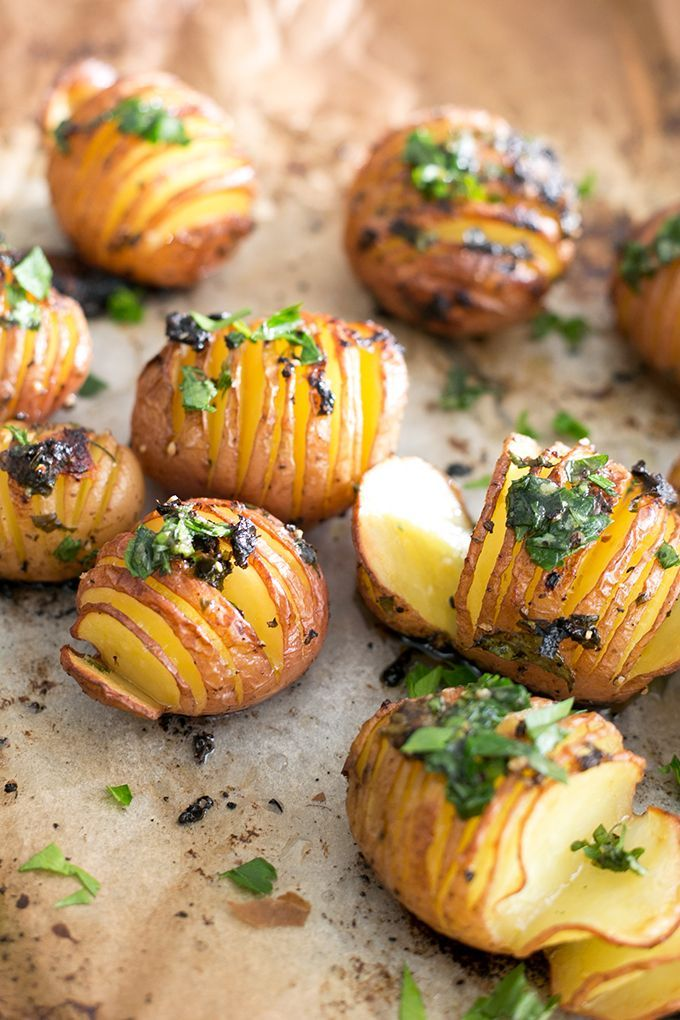 Vegan Roasted Potatoes // potato, basil, garlic, lemon, parsley, olive oil, maple syrup + spices.