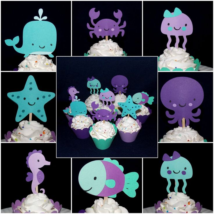 Purple & Teal Under the Sea Cupcake Toppers Octopus Whale Crab Seahorse Fish Party Picks Birthday Cake Decoration Sea Life Baby Shower by APaperPlayground on Etsy