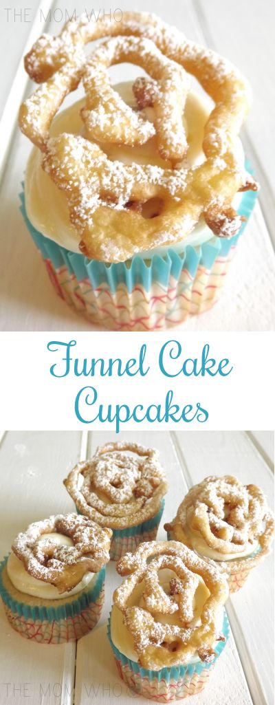 Funnel Cake Cupcakes -  Baking these brought on the nostaglia of going to carnivals and eating funnel cake