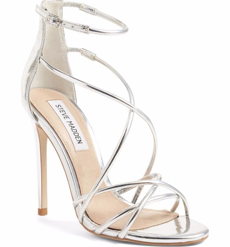 hot sale online 067f2 d2999 Silberne hohe Schuhe - Satire Riemchensandale von Steve ...