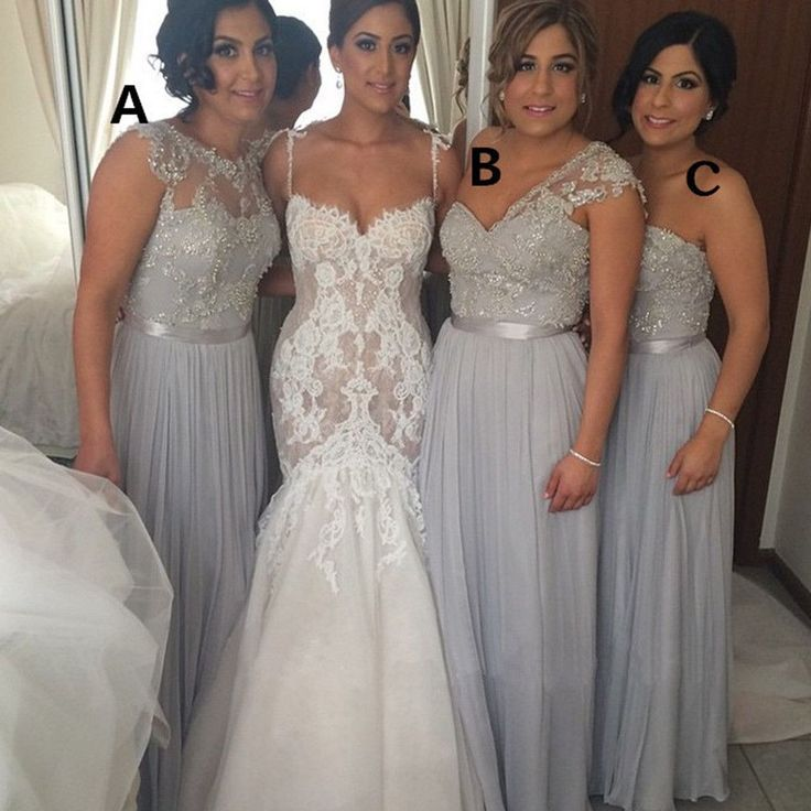 Popular Women Mismatched Lace Top Grey Chiffon Formal Floor Length Cheap Bridesmaid Dresses, WG168