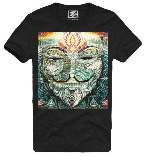 E1SYNDICATE T-SHIRT GUY FAWKES ANONYMOUS HOFMANN ACID SALVIA AZTEC