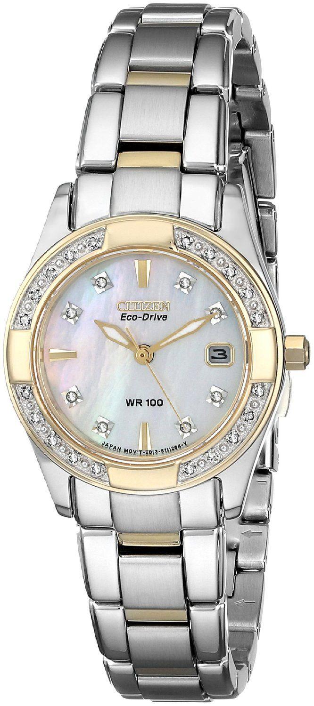 Citizen Eco-Drive Women's EW1824-57D Regent Diamond-Accented Watch >>> Click image to review more details.