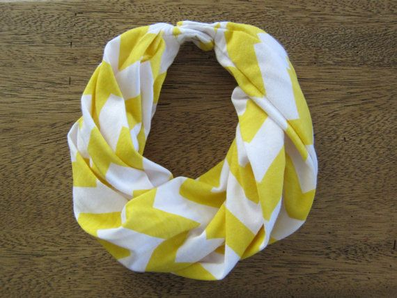 Infinity Scarf with Snap Closure for Baby, Toddler (Yellow Chevron Jersey Knit)