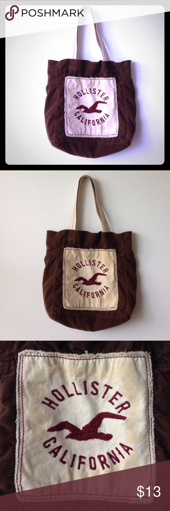 Hollister tote bag Hollister tote bag   Color: brown & tan & burgundy   (Used)  Distressed totebag from Hollister. This bag is perfect for the beach or for every day use ⭐️ Hollister Bags Totes