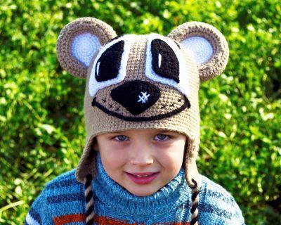 Вязаная крючком прикольная детская шапочка медведь (автор Марина Трикоз) купить шапки с ушками для мальчика. Магазин Смешапки Россия Екатеринбург