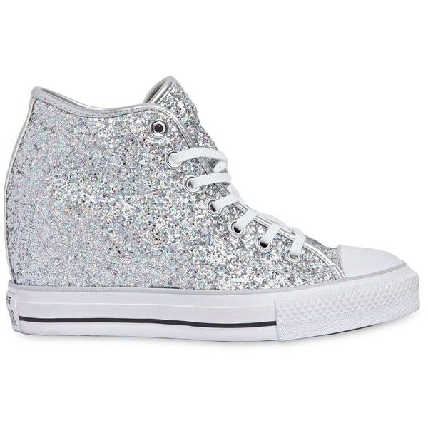 CONVERSE 80mm All Star Mid Lux Glittered Sneakers - Silver (€130) ❤ liked on Polyvore featuring shoes, sneakers, silver, silver glitter sneakers, platform sneakers, wedges shoes, silver wedge sneakers and platform wedge shoes