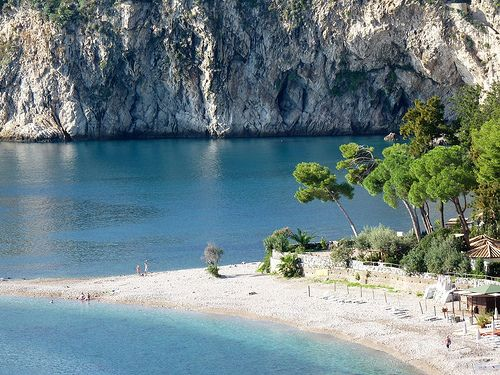Taormina - The beautiful beach of Isola Bella  #taormina #sicily #sicilia