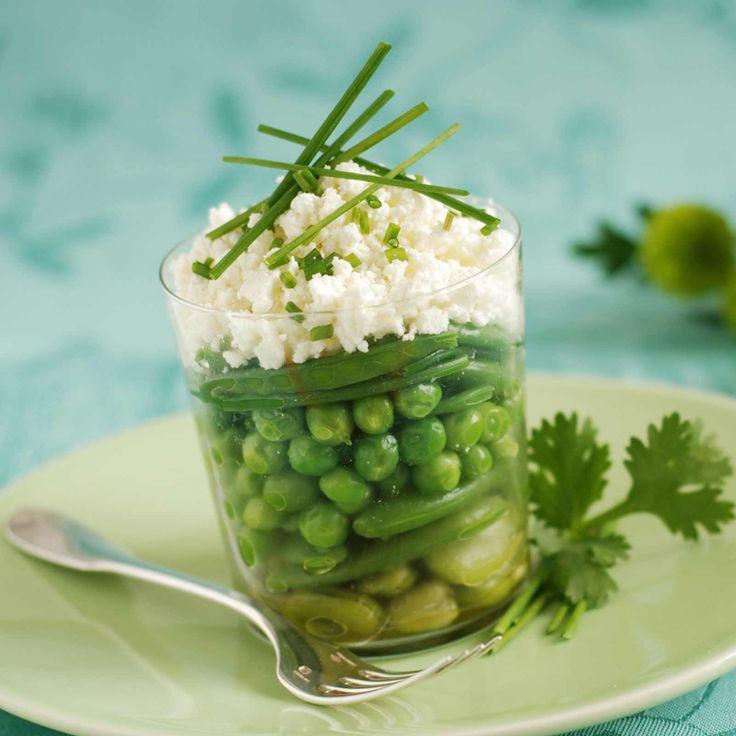 Découvrez la recette de la verrine de légumes de printemps