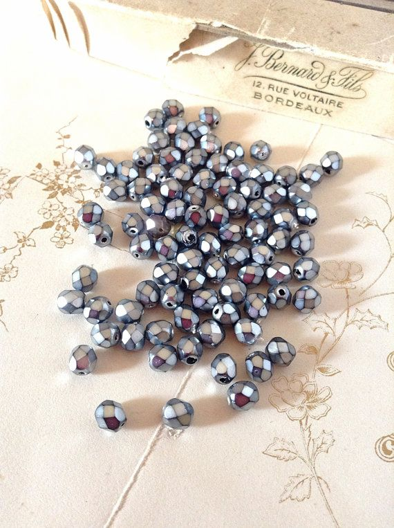 4mm Czech Fire Polished Faceted Glass Bead Crystals - (25) Silver Metallic Grey - Jewellery Art & Sewing Supplies