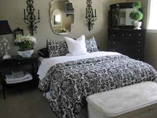 black and white damask bedding