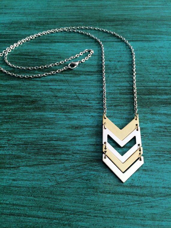 Chevron Necklace V Necklace Silver Chevron by Jordanlynnsgems