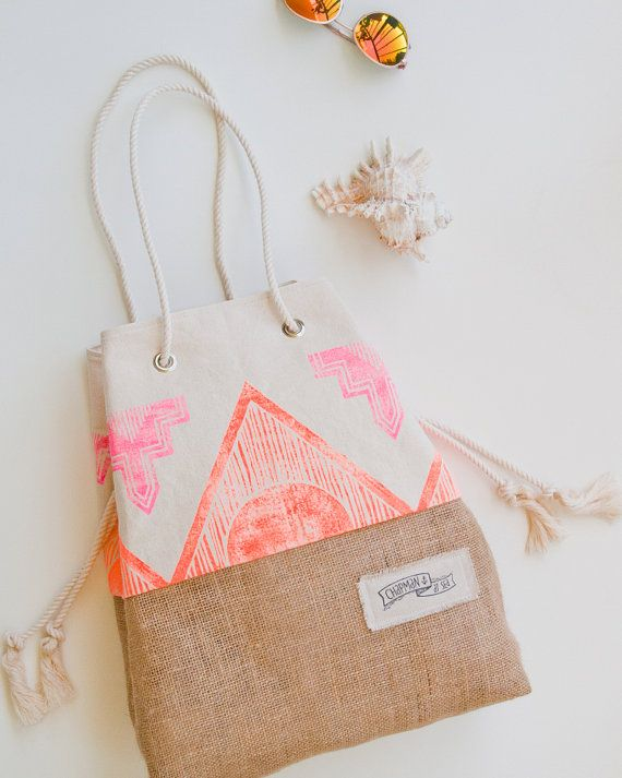 The Sandbag - Special Edition - Surf Tribe Pink & Orange Neon Tribal Print Beach Bag  A brand new edition of our most popular beach tote, done up for summer with a rad boho print. Chapman at Sea classic natural washed canvas is hand stamped with a custom tribal pattern in neon pink and orange. It gives it a really fun, retro - surf vibe. I design & carve all of my own stamps and apply the patterns using water based screen printing ink.  The Sandbag was designed to prevent sand from sn...