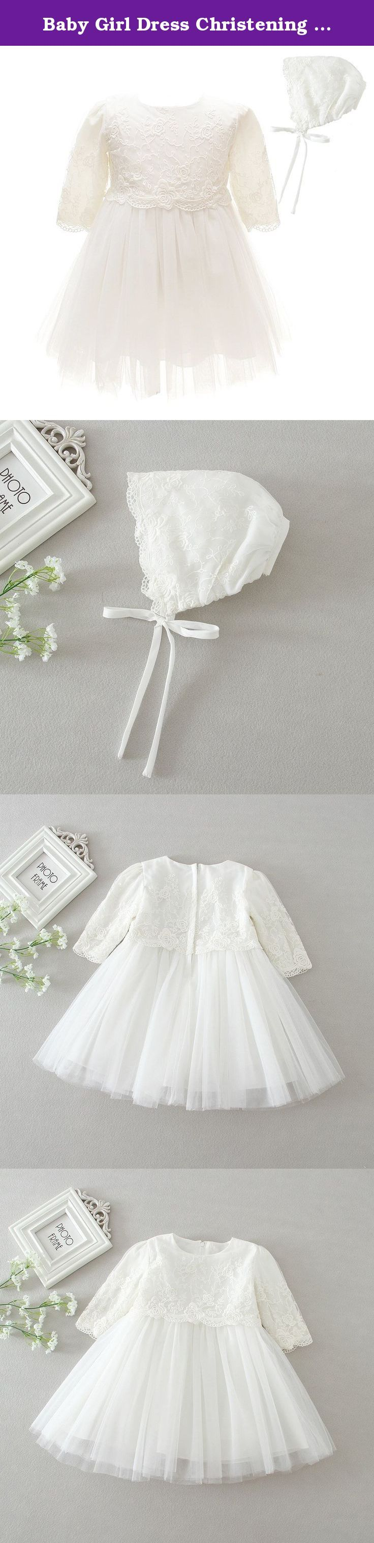 """Baby Girl Dress Christening Baptism Gowns Long Sleeve Thicken Dress, White, 18M. This beautiful dress is made of high quality material,which is handmade beautiful floral dress.Wearing it,you can feel like yourself look like one princess. Please check the size chart on the amazon carefully.If there is any question,please feel free to contact with us. Size 3M/0-5Month: Bust 19.7""""/50cm,Waist 19.7""""/50cm, Long 15.4""""/39cm Size 6M/5-10Month: Bust 20.5""""/52cm, Waist 20.5""""/52cm, Long 16.5""""/42cm…"""