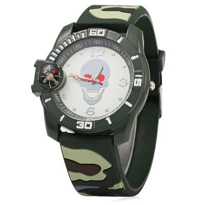 Camouflage Mens Skull Quartz Watch With Rubberized Band on Storenvy