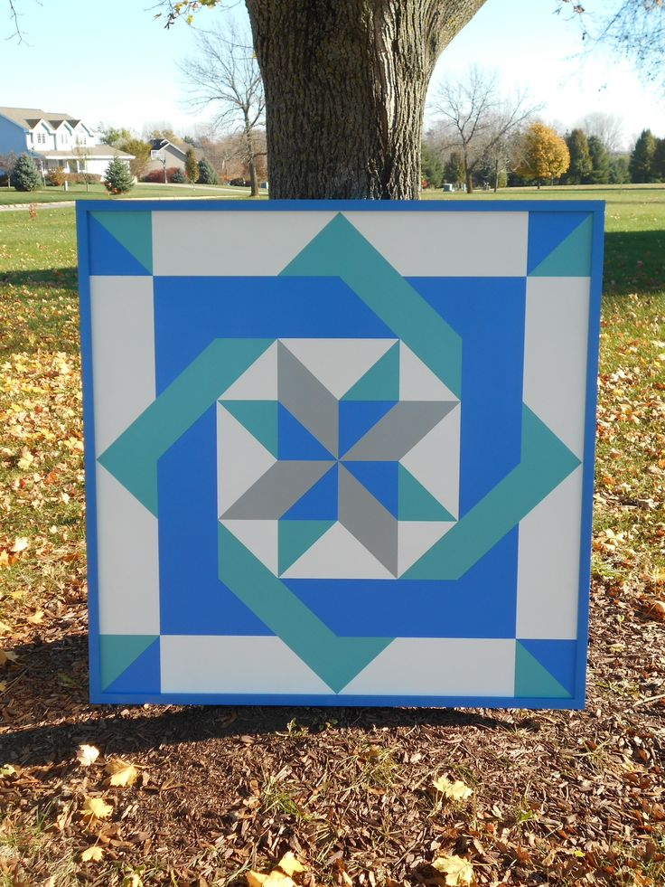 Pinwheel Maze Barn Quilt with Frame 4'x4' morningstarbarnquilts.com