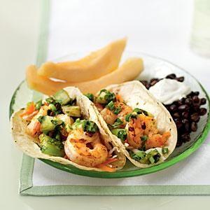 Tacos de Camarones Picantes con Salsa de Tomatillo Asado   MyRecipes.com