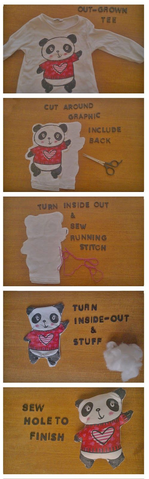 Upcycle T-shirt stuffed animal. For an out-grown shirt or one with stains.